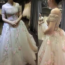 cheap actual photos pink arab dubai wedding dresses 2018 3d floras