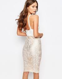 new look new look foil bandage bodycon dress