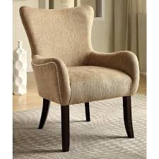 Beige Accent Chair Casual Beige Living Room Accent Chair With Nailhead Trim Free