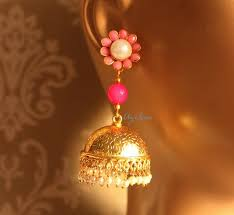 gold jhumka earrings designer gold jhumka earrings unique pink gemstone post earrings
