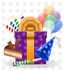 birthday stuff birthday stuff gift cake and balloons royalty free vector clip
