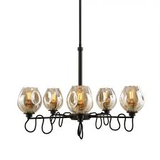 Uttermost Chandeliers Clearance 21312 Fritz 5 Light Glass Chandelier In Gold