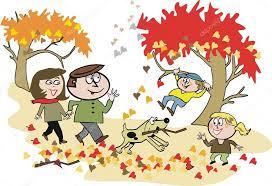 imagenes animadas de otoño hojas de dibujos animados vector de familia feliz caminar en el
