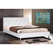 barbara white modern bed with crystal button tufting queen