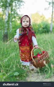 beautiful little russian traditional clothes stock photo