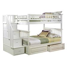 Atlantic Furniture Columbia Staircase Full Over Full Bunk Bed - White bunk beds twin over full with stairs