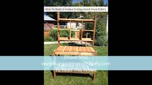 how to build a garden potting bench from pallets youtube