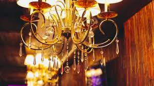 Chandelier With Crystal Balls Gold Crystal Chandelier On A Bright Background Slow Motion Stock
