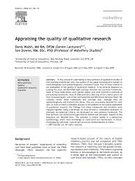 appraising the quality of research pdf download available