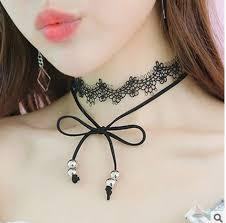 leather bow necklace images Korea elegat girls black leather bow chokers lace wrap chocker jpg