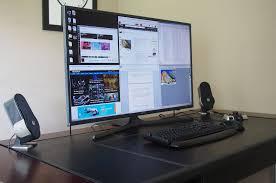long gaming desk using a 4k tv as a desktop monitor techspot