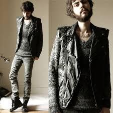 biker apparel tony stone undefined custum biker jacket undefined grey knitted
