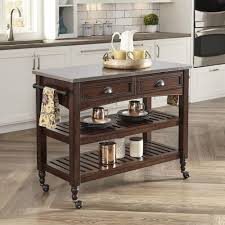 Kitchen Table With Stainless Steel Top - home styles country comfort aged bourbon kitchen cart with