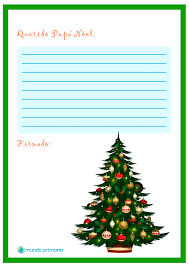 carta de arbol navideño para papa noel navidad
