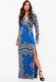 maxi dress blue paisley print wrap maxi dress missguided