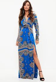maxi dress blue paisley print wrap maxi dress missguided