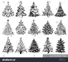 set dreawn trees 15 designs stock vector 88575250