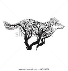 wolf run silhouette double exposure blend stock vector 497119858
