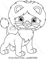 young lion coloring young lion cub white clip art
