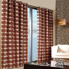 Geometric Orange Curtains Melange Home Limoges Geometric Print Eyelet Lined Curtains Ebay