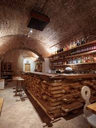 romanian bar restaurant design with wooden table small round the