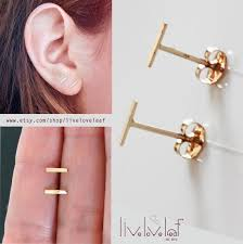 gold bar stud earrings gold staple stud earrings 14k solid gold tiny bar studded