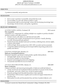 production resume template resume sle assembly and production