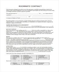free roommate agreement template rental agreement form in word