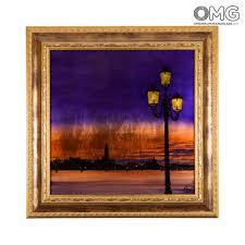 cornici con vetro quadro con cornice su vetro di murano panorama di venezia con