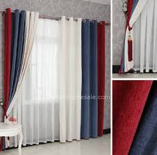 bedroom curtains in red blue and white combined colors for eco