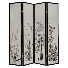 room divider panels cherry blossom rosewood 4 panel room divider hayneedle