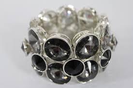 black fashion jewelry bracelet images Silver metal bangle elastic bracelet black gray circle stones new JPG