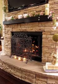 interior stylish floor to ceiling stone veneer fireplace design