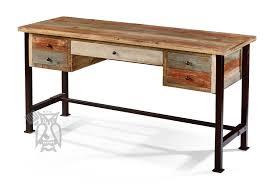Ifd Pine Rustic Wood 5 Drawer Writing Desk Metal Legs