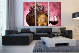 3 piece large pictures wine artwork grapes wall decor barrel 3 piece wall art living room wall art kitchen multi panel art wine