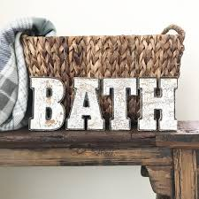 antique wood letters vintage bath sign hand painted chippy