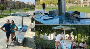 a solar charging station for smartphones in the city center of