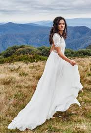 trouwjurk boho lace country style side split bridal gowns with