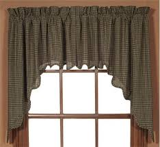 Primitive Swag Curtains Kettle Grove Scalloped Lined Swag Curtains Primitive Quilt Shop
