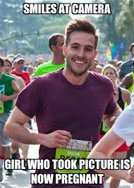 Camera Meme - ridiculously photogenic guy smiles at camera girl who took picture