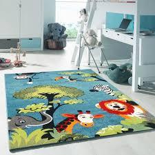 tapis chambre enfant tapis safari bleu tapis enfants 160 x 230 cm achat vente