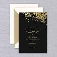 and black wedding invitations vera wang gold confetti engraved black wedding invitation crane