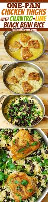 stove top gluten free one pot chicken thighs with cilantro lime black bean rice