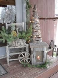 rustic christmas weathered lantern basket of pine u0026 lighted