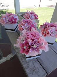 small flower arrangements for tables origami paper flower centerpiece set of 5 kusudama pink small design