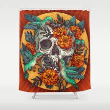 Skull Shower Curtain Hooks Sugar Skull Shower Curtain