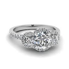 Circle Diamond Wedding Ring by Three Round Halo Diamond Engagement Rings In 14k White Gold