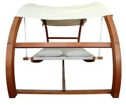 wooden swing bed with canopy