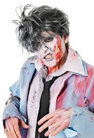 mens grey messy hair spikey wig mad scientist halloween zombie