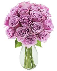 lavender roses bouquet of 18 purple stem provincial lavender roses for sale